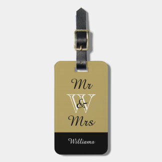 "CHIC LUGGAGE TAG_""Mr & Mrs"" KHAKI/BLACK/WHITE Luggage Tag"