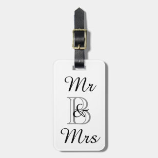 "CHIC LUGGAGE TAG_""Mr & Mrs"" WITH MONOGRAM Bag Tag"