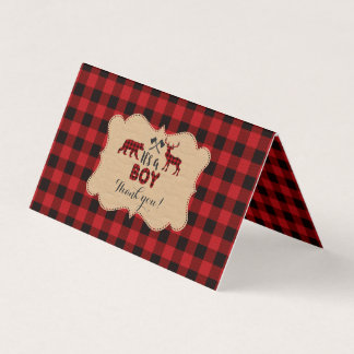 Chic Lumberjack Red Buffalo Baby Shower Thank you Card