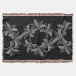 Chic Magic Black Lilies Pattern Throw Blanket