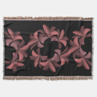 Chic Magic Pink Lilies Pattern Throw Blanket