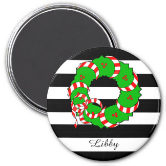 CHIC MAGNET_GIRLY/PREPPY CHRISTMAS WREATH 3 INCH ROUND MAGNET
