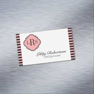 CHIC MAGNETIC PERSONAL CARD_BLACK/BLUSH  STRIPES 	Magnetic BUSINESS CARD