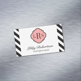 CHIC MAGNETIC PERSONAL CARD_BLACK/WHITE  STRIPES 	Magnetic BUSINESS CARD