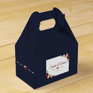 Chic Marsala Floral Fall Navy Blue Wedding Favor Box