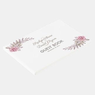 Chic Marsala Maroon Floral Watercolor Guest Book