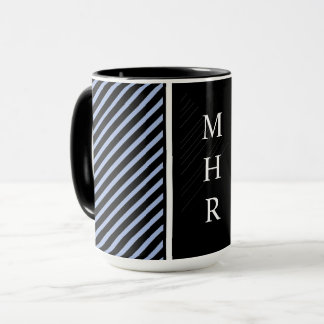 CHIC MASCULINE MUG_BLACK STRIPES/MONOGRAM...DIY MUG
