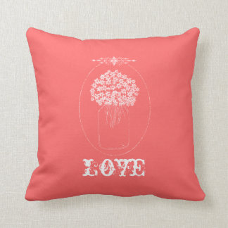 Chic Mason Jar Flowers Love Pink Throw Pillow