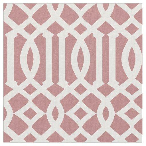 Chic Mauve Pink and White Trellis Lattice Pattern Fabric