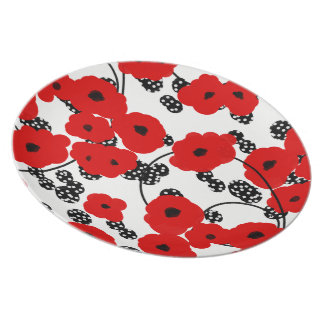 CHIC MELAMINE PLATE_12RED FLORAL/BLACKBERRIES PLATE
