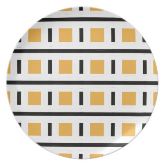 CHIC MELAMINE PLATE_MOD  BLACK/WHTE/GOLD DESIGN PLATE