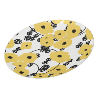 CHIC MELAMINE PLATE_YELLOW FLORAL/BLACKBERRIES PLATE