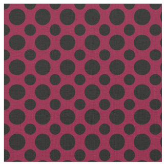 Chic Merlot / Burgundy Black Polka Dots Fabric