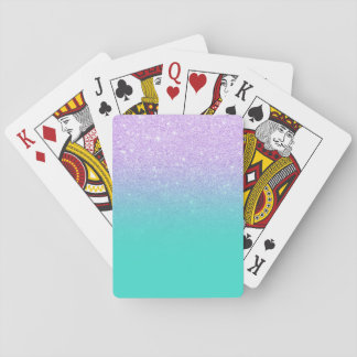 Chic mermaid lavender glitter turquoise ombre playing cards