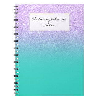 Chic mermaid lavender glitter turquoise ombre spiral note books