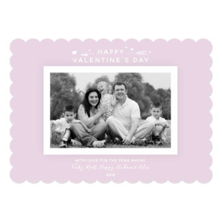 Chic Millennial Pink + White Valentine's Day Photo Card