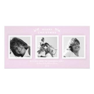 Chic Minimal Pale Pink Three Photo Merry Christmas Card