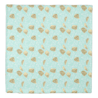 Chic Mint and Gold Diamonds Duvet Cover