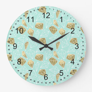 Chic Mint and Gold Diamonds Large Clock