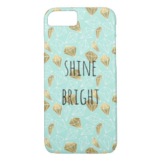 Chic Mint and Gold Diamonds Shine Bright iPhone 8/7 Case
