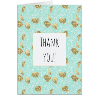 Chic Mint and Gold Diamonds Thank You Card