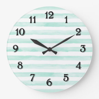 Chic Mint and White Stripes Large Clock
