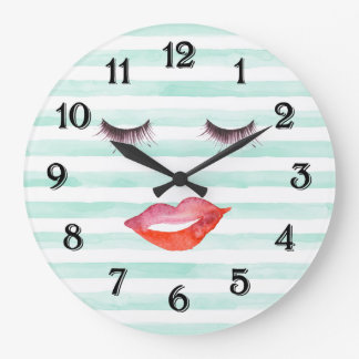 Chic Mint and White Stripes Lips and Eyelashes Large Clock