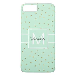 Chic Mint Gold Confetti Monogram iPhone 8 Plus/7 Plus Case