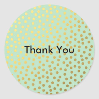Chic Mint Gold Dots Classic Round Sticker