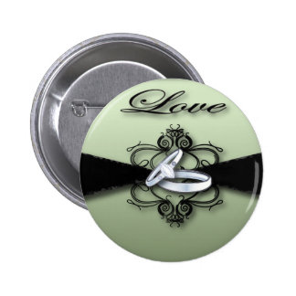Chic Mint Green and Black Wedding Favor 2 Inch Round Button