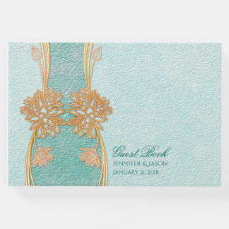 Chic Mint Green and Gold Wedding Guest Book