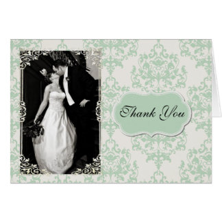 Chic Mint Green Damask Photo Thank You Card