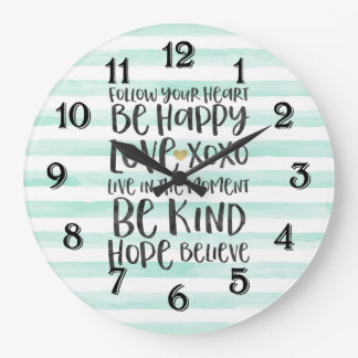 Chic Mint Stripes Inspirational Words Wallclock