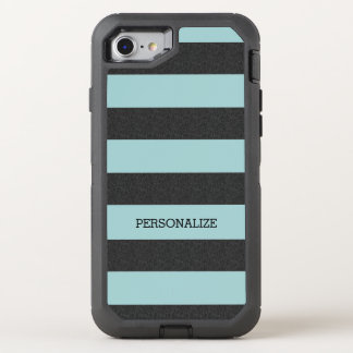 Chic Mint Stripes OtterBox Defender iPhone 7 Case