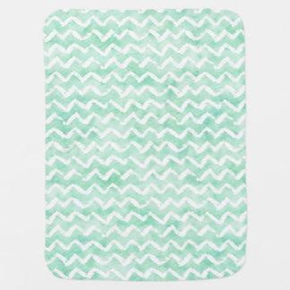 Chic Mint Watercolor Chevron Stripes Baby Blanket