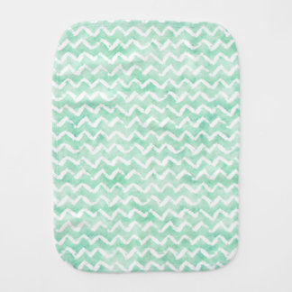 Chic Mint Watercolor Chevron Stripes Burp Cloth