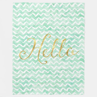 Chic Mint Watercolor Chevron Stripes Gold Hello Fleece Blanket