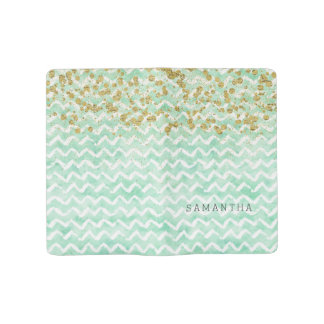 Chic Mint Watercolor Chevron Stripes Large Moleskine Notebook