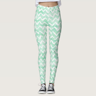 Chic Mint Watercolor Chevron Stripes Leggings