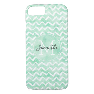 Chic Mint Watercolor Chevron Stripes Monogram iPhone 8/7 Case