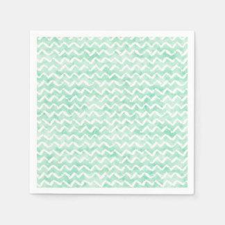 Chic Mint Watercolor Chevron Stripes Napkin