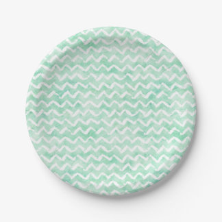 Chic Mint Watercolor Chevron Stripes Paper Plate