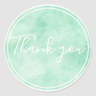 Chic Mint Watercolor Thank you Classic Round Sticker