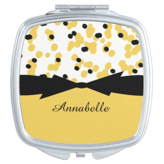 CHIC MIRROR COMPACT_GIRLY BLACK/YELLOW DOTS