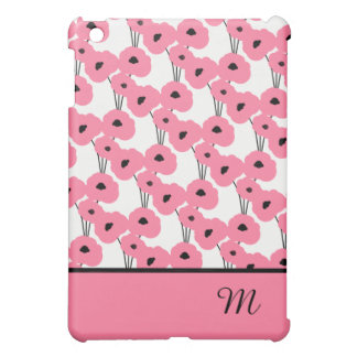CHIC MOD 241 PINK & BLACK POPPIES iPad MINI CASE
