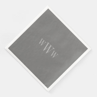 CHIC MOD 251 GRAY SOLID/MONOGRAM DISPOSABLE NAPKIN