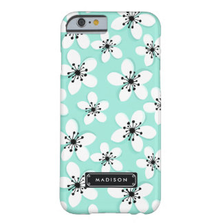 Chic Mod Mint & Black Cherry Flowers Barely There iPhone 6 Case