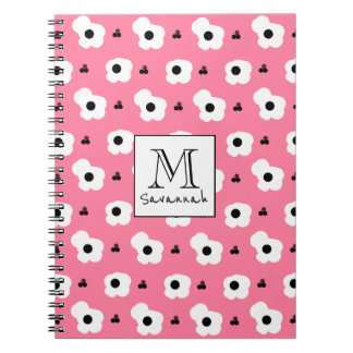 CHIC _MOD WHITE AND BLACK FLORAL ON 241 PINK NOTEBOOK