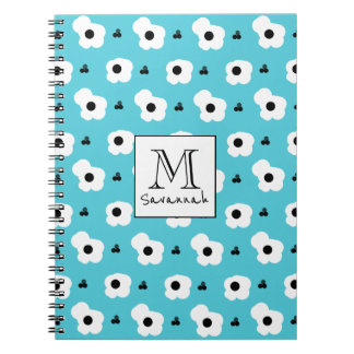 CHIC _MOD WHITE AND BLACK FLORAL ON AQUA NOTEBOOKS