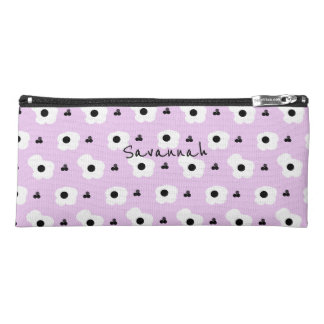 CHIC MOD WHITE AND BLACK FLORAL ON LILAC PENCIL CASE